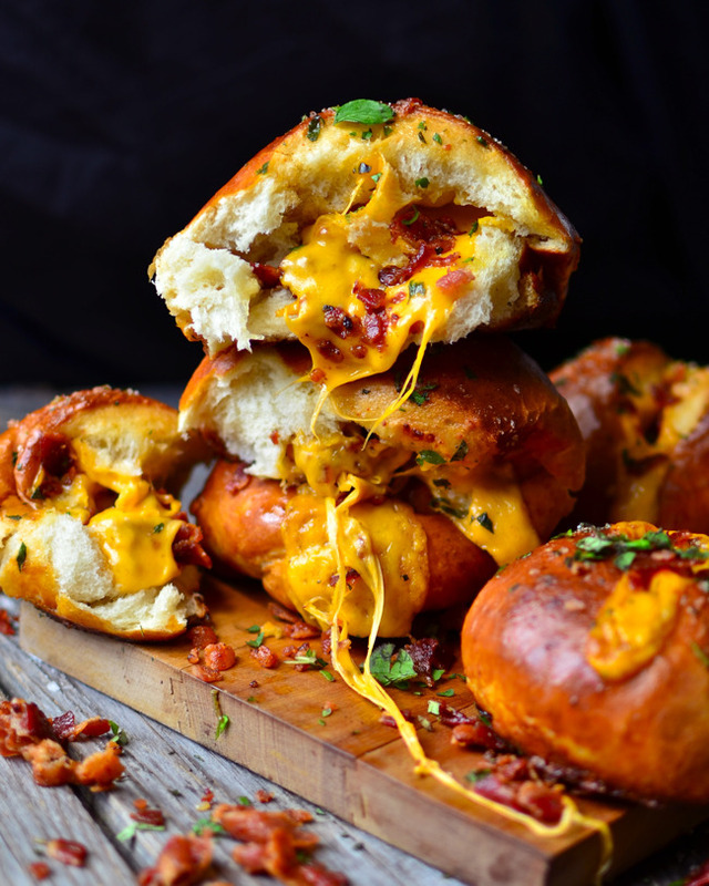 Cheddar Bacon Stuffed Pretzel Buns