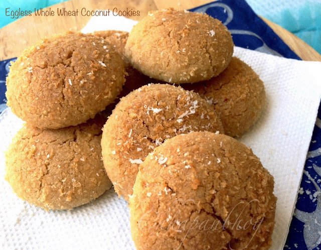 Eggless Whole Wheat Coconut Cookies with just 5 ingredients