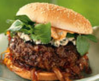 Andouille and Beef Burgers with Spicy Mayo and Caramelized Onions