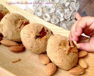 Eggless Whole Wheat and Almond Cookies