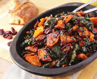 Make-Ahead Roasted Squash and Kale Salad With Spiced Nuts, Cranberries, and Maple Vinaigrette Recipe