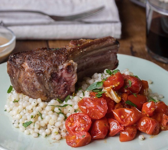 Lamb Chops with Mustard Shallot Sauce, Roasted Tomatoes & Pearl Couscous
