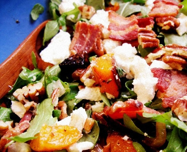 Roasted Squash and Arugula Salad with Pecans, Bacon, and Goat Cheese