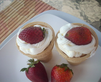 White chocolate  mousse in Ice cream cones ( a Desert for Louise's Cookbook party)