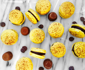 Reese's peanut butter cup and chocolate ganache macaroons