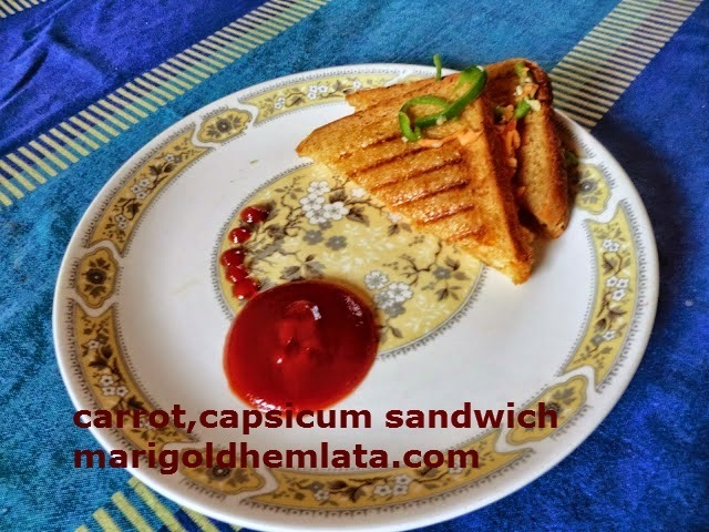 capsicum,carrot sandwich with oats and curd