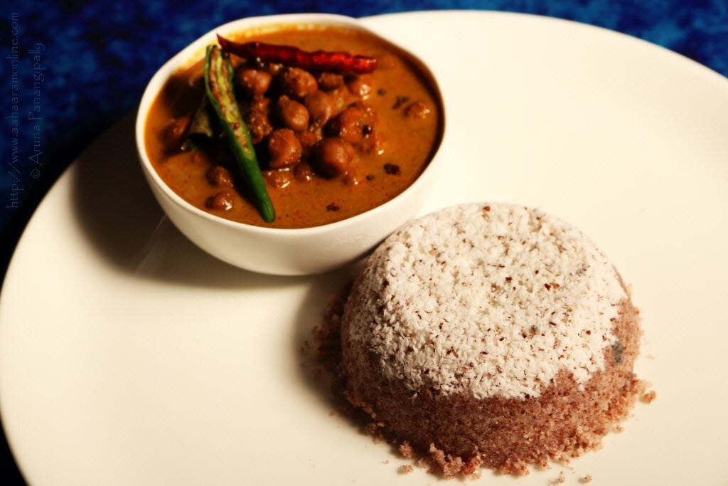 Chiratta Puttu and Kadala Curry (No Onion, No Garlic)