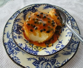 Cream cheese flan with passion fruit sauce