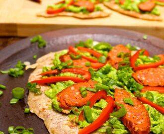 3 Ingredient Paleo Flatbread with Avocado and Chorizo