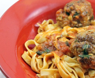 Garlicky Meatball Pasta with Avocado-Butter Lettuce Salad