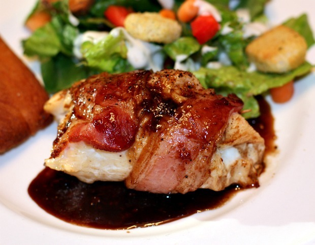 Jalapeno and Goat Cheese Stuffed Chicken Breast with Fig Balsamic Sauce