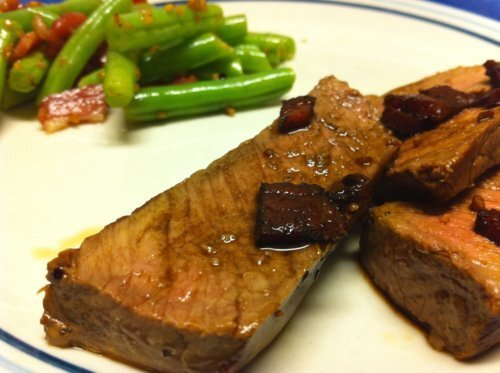 Sirloin Steak with Bacon Balsamic Sauce and Green Beans