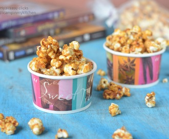 Caramel Popcorn, No Sugar, Caramel using Jaggery and Dates Syrup
