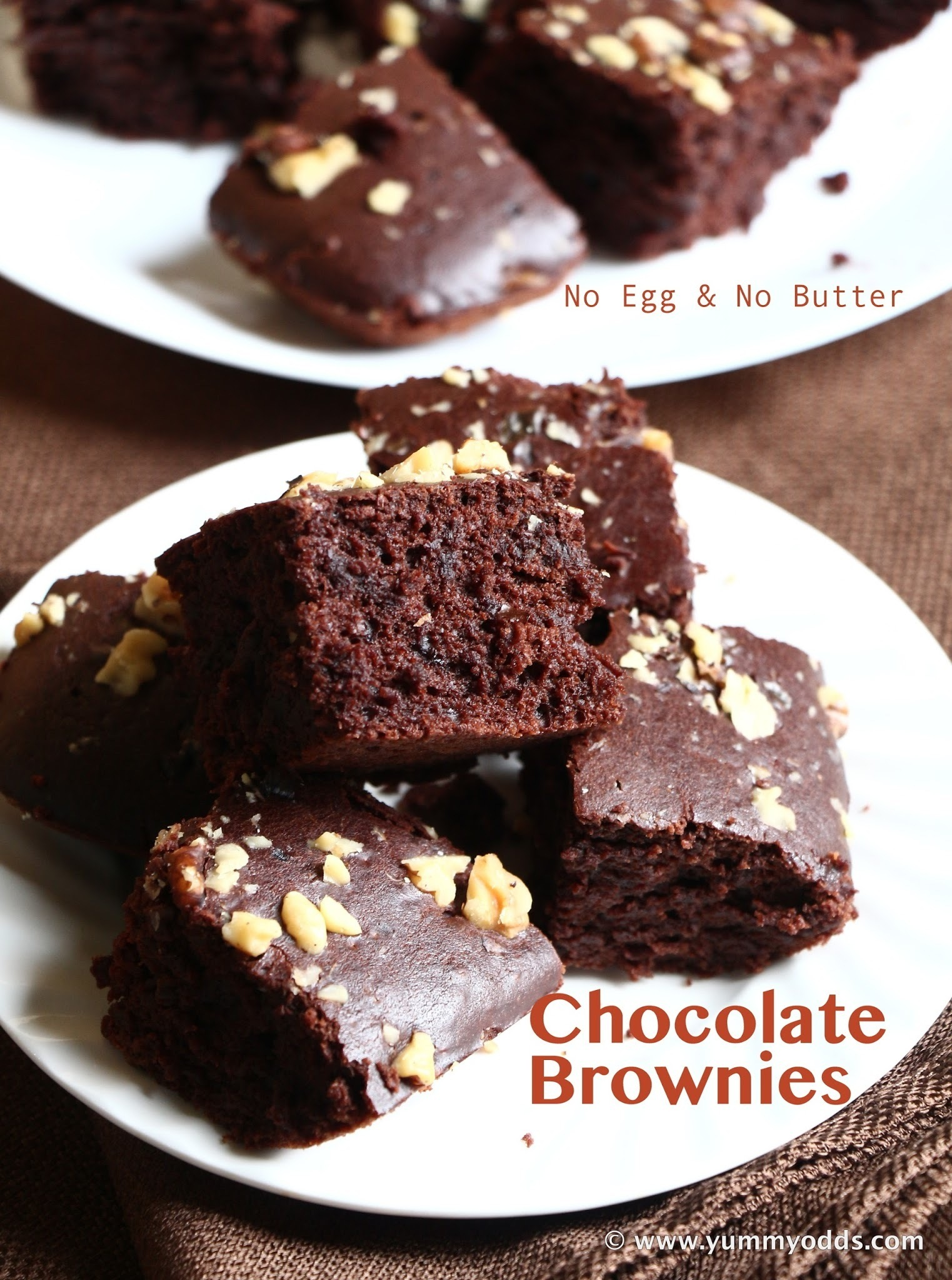 Eggless Chocolate Brownies ( No Egg & No Butter)