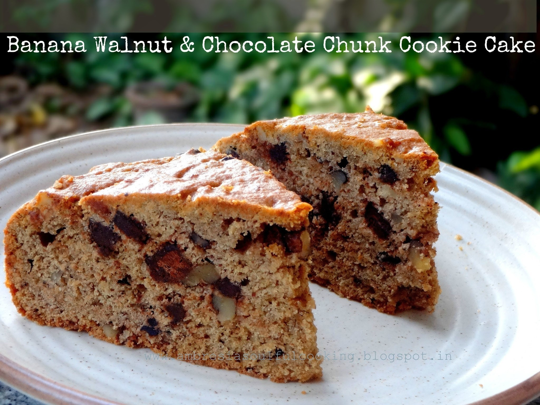 Banana Walnut & Chocolate Cookie Cake - Wholegrain and Egg less