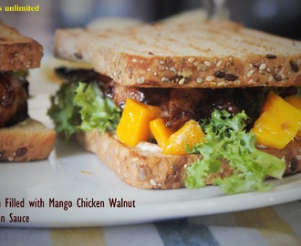 Sandwich Filled with Mango Chicken Walnut in Hoisin Sauce