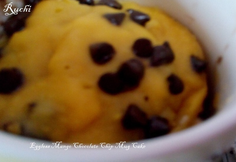 Eggless Mango Chocolate Chip Mug Cake