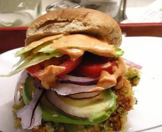 Sarasota's Shrimp Burgers, Avocado and a Chili Lime Mayo