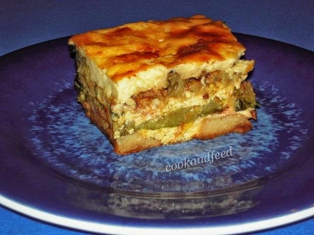 Layered Vegetables with Cheese and Bacon Au Gratin/Λαχανικά με Τυριά και Μπέικον Au Gratin