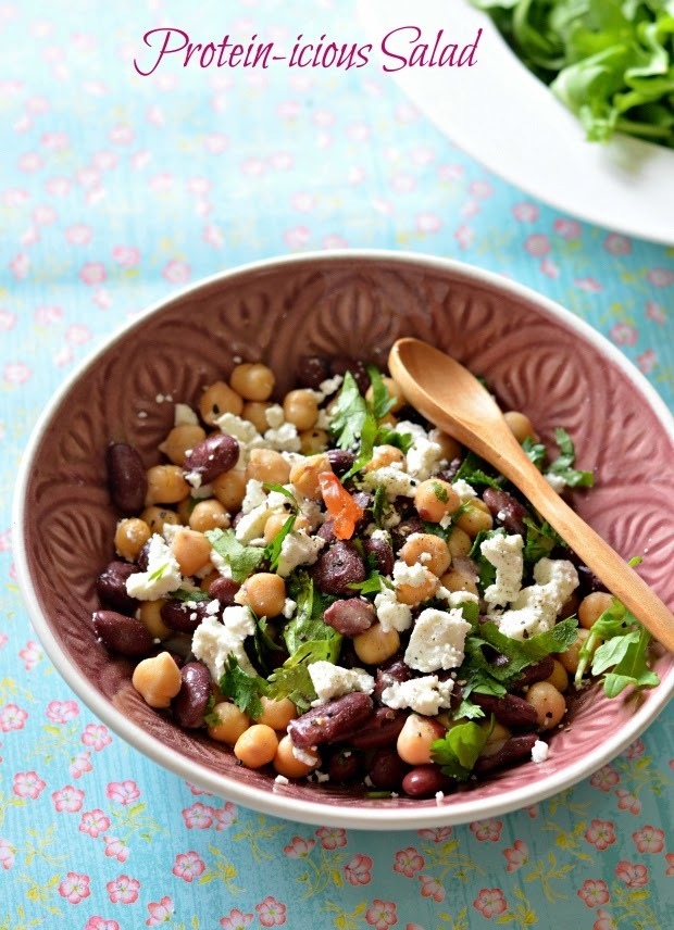 Chickpeas, Red Kidney beans & Feta Cheese Salad with lemon juice and Parsley:: Protein packed quick bite
