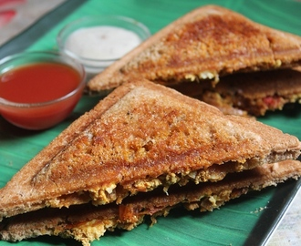 Tofu Bhurji Sandwich Recipe / Scrambled Tofu Sandwich Recipe