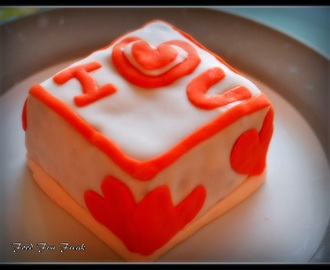 Homemade Marshmallow Fondant Cake for Valentine's Day