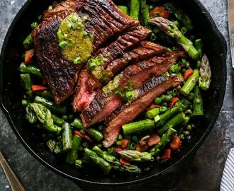 One-Skillet Steak and Spring Vegetables with Mint Mustard Sauce