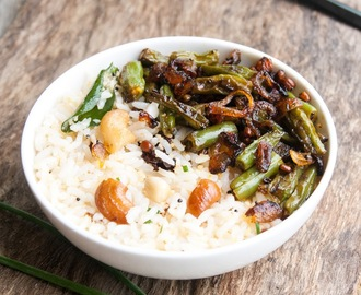 Coconut Cashew Rice with crunchy green Beans