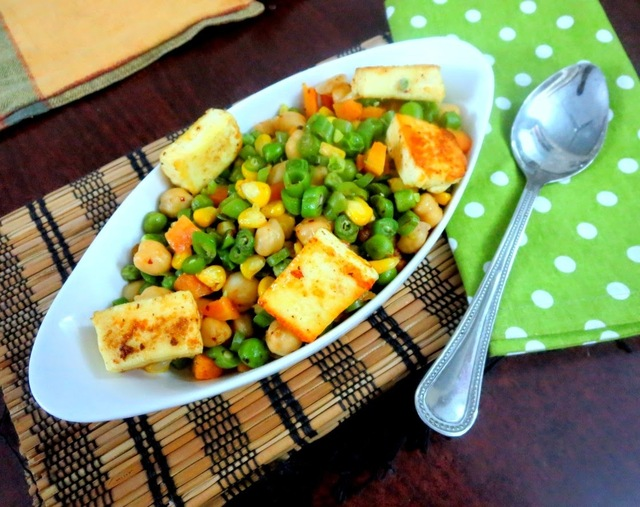 Steamed, Sauteed Vegetable Medley with Roasted Paneer ~ Low Carb Indian Vegetarian Recipe