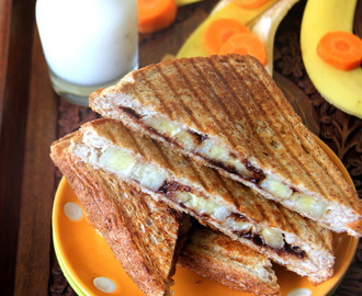 Chocolate Banana sandwich - Grilled Chocolate Banana sandwich - Kids friendly recipe