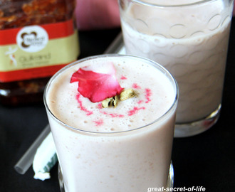 Gulkand Lassi recipe - Lassi recipes - Yogurt based summer cooler recipes - Summer recipe - Rose flavoured Lassi recipe