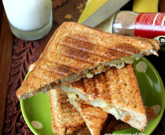 Peanut Butter Banana Sandwich - Grilled peanut butter and banana sandwich recipe - Kids friendly sandwich recipe