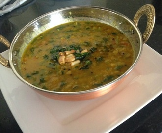 Palak  Moong Dal Seaosned with Garlic - Garlicky Greengram Spinach Curry