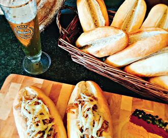 Beer Bratwurst and Caramelized Sauerkraut