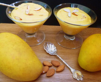 Mango Shrikand (Sweet dish made with Yogurt and Mango)