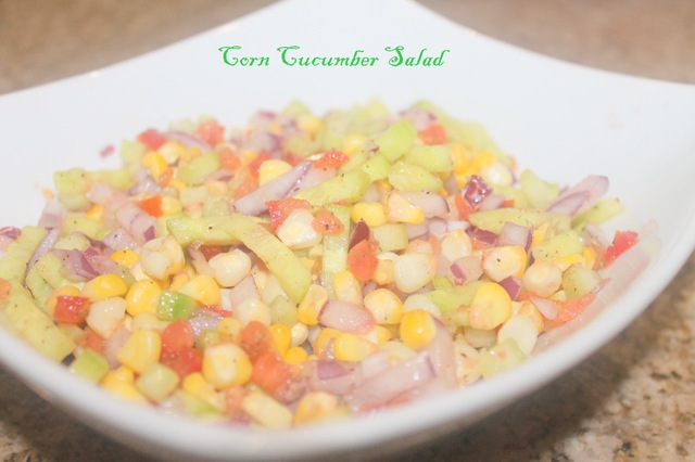 Sweet Corn and Cucumber Salad.