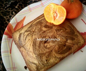 Eggless Orange Coffee Marble Cake