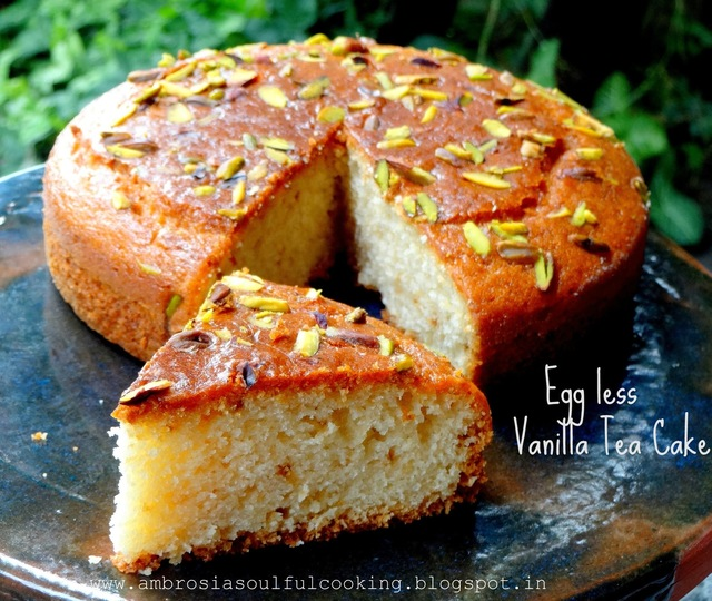 Egg less Vanilla Tea Cake | Butter free Cake
