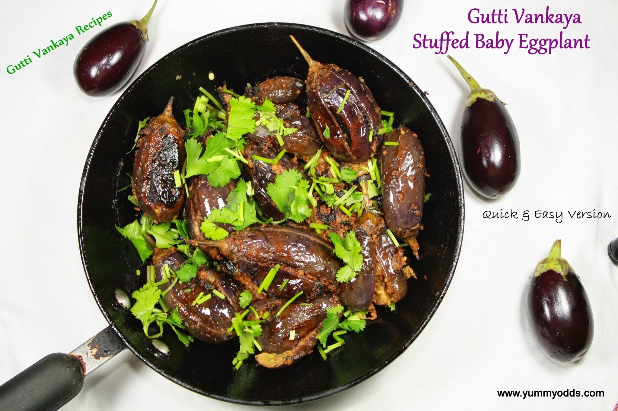 Gutti Vankaya Dry Fry with Sesame & Peanut Filling  ( Stuffed Aubergine Fry) { Quick Version }