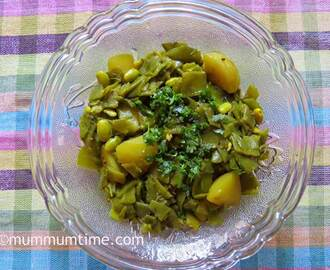 Papdi Aloo Sabzi (Flat Green Beans and Potato Sabzi)