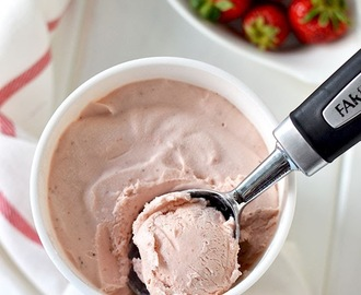 Roasted Strawberry Ice Cream (3 Ingredient Recipe and No Ice Cream Maker required)