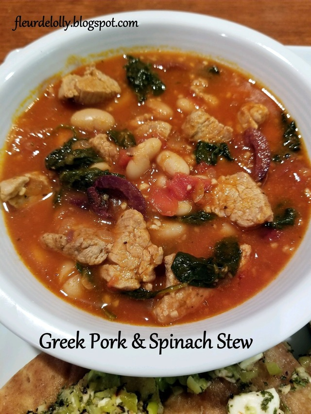 Greek Pork and Spinach Stew with beans and olives