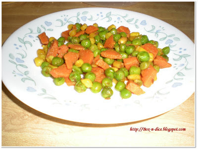 Peas(matar), carrot and corns sabji recipe