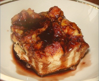 Banana Bread Pudding with Nutella Swirl & Chocolate Sauce