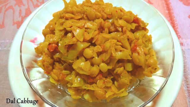 Cabbage with dal/Bandh gobhi dal recipe