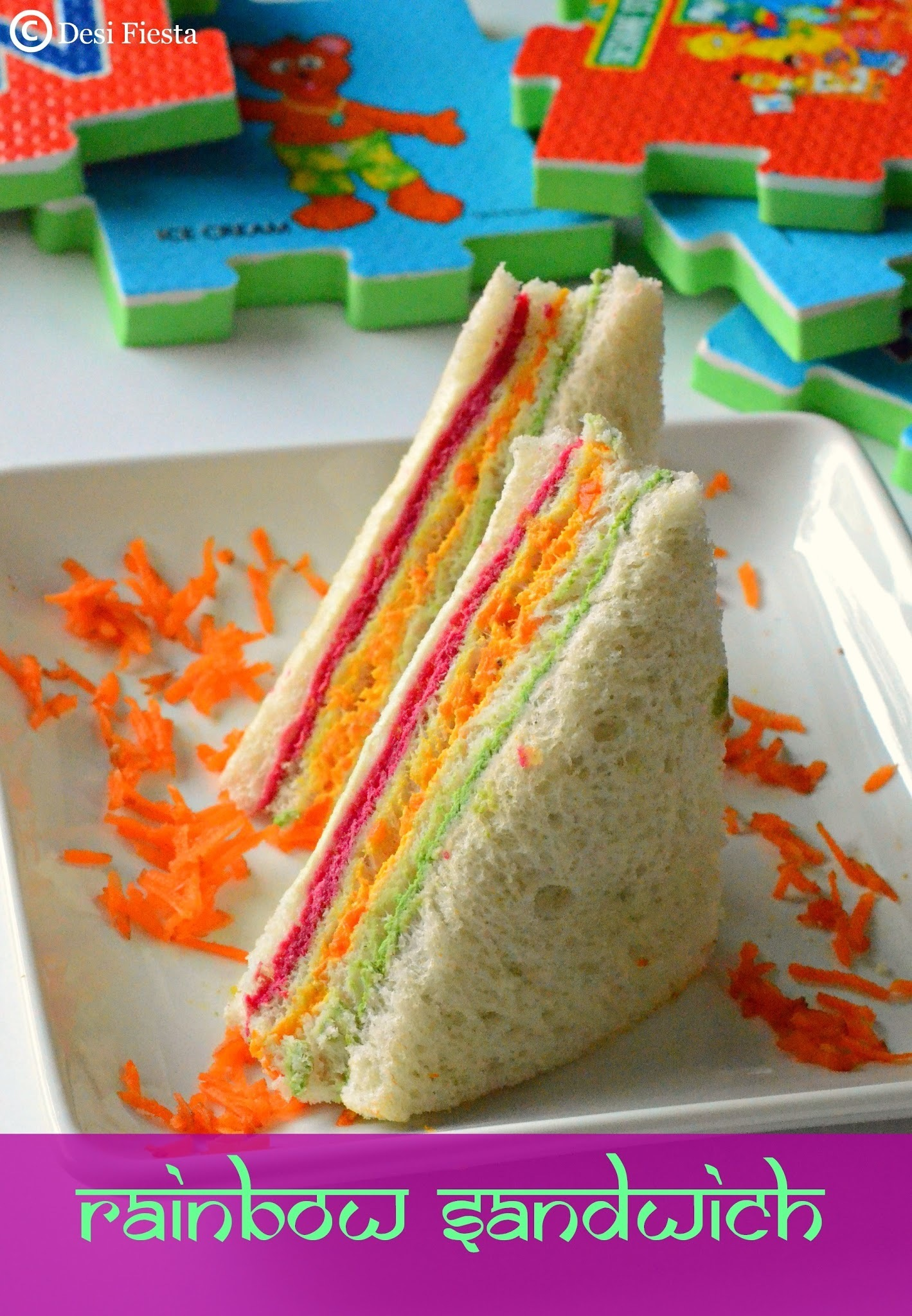 Rainbow Sandwich Recipes | Breakfast Sandwich|Picnic Sandwich Recipe