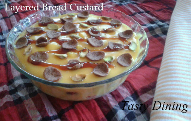 Layered Bread Custard Pudding