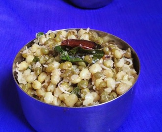 Sprouted Moong Dal Sundal - Paasi Payaru Sundal - How to make Sundal - Navaratri Recipes