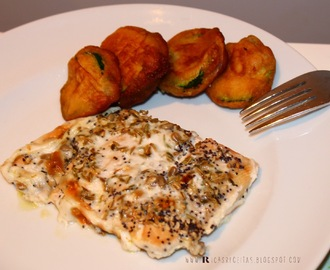 Lombo de Salmão com leite de Côco, sementes de funcho e papoila e tempura de courgettes | Fillet of Salmon with Coconut milk, fennel and poppy seeds, and zucchini tempura