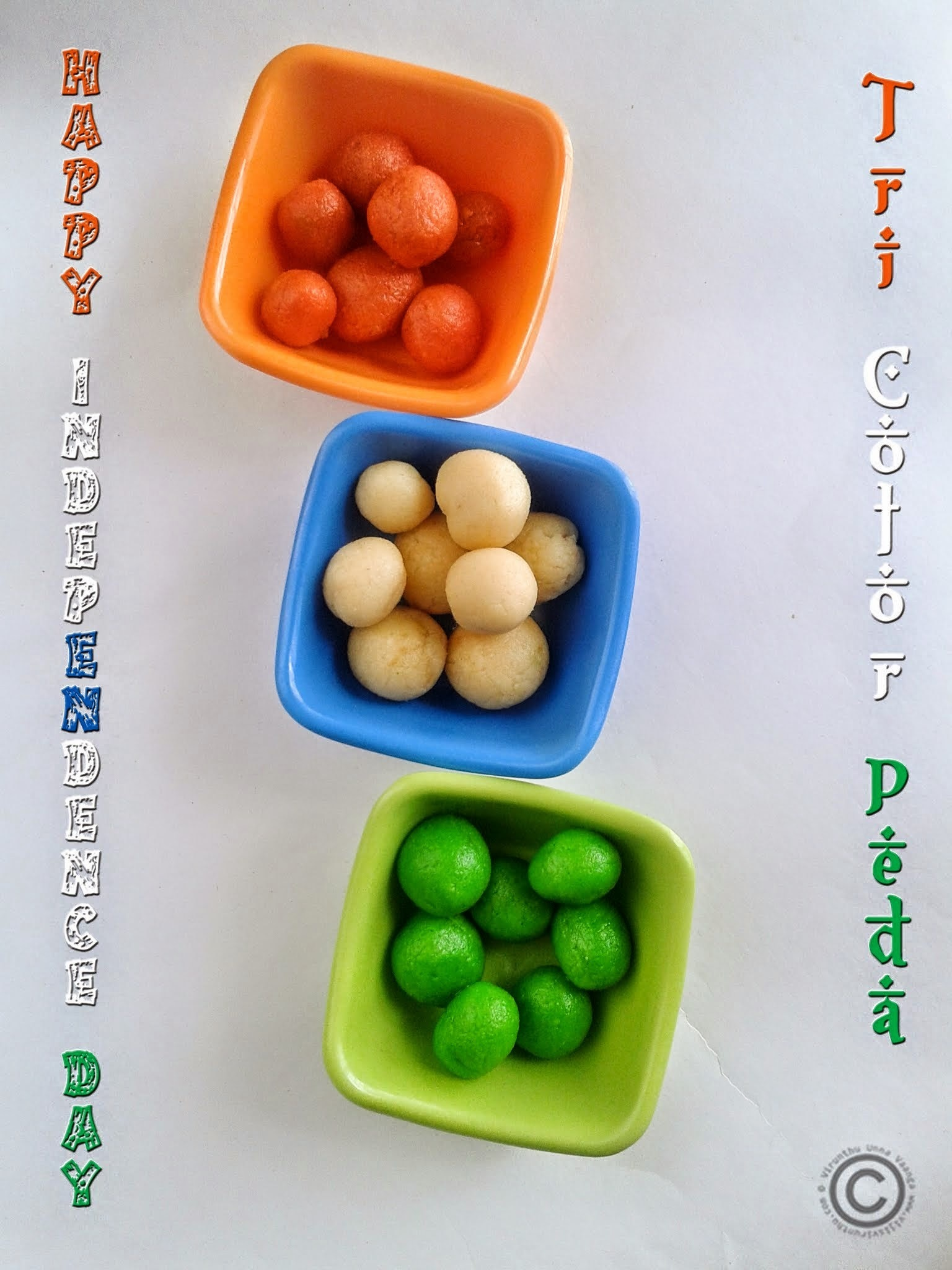 TRI COLOR PEDA I MILK PEDA WITH MILK POWDER I INDEPENDENCE DAY RECIPES